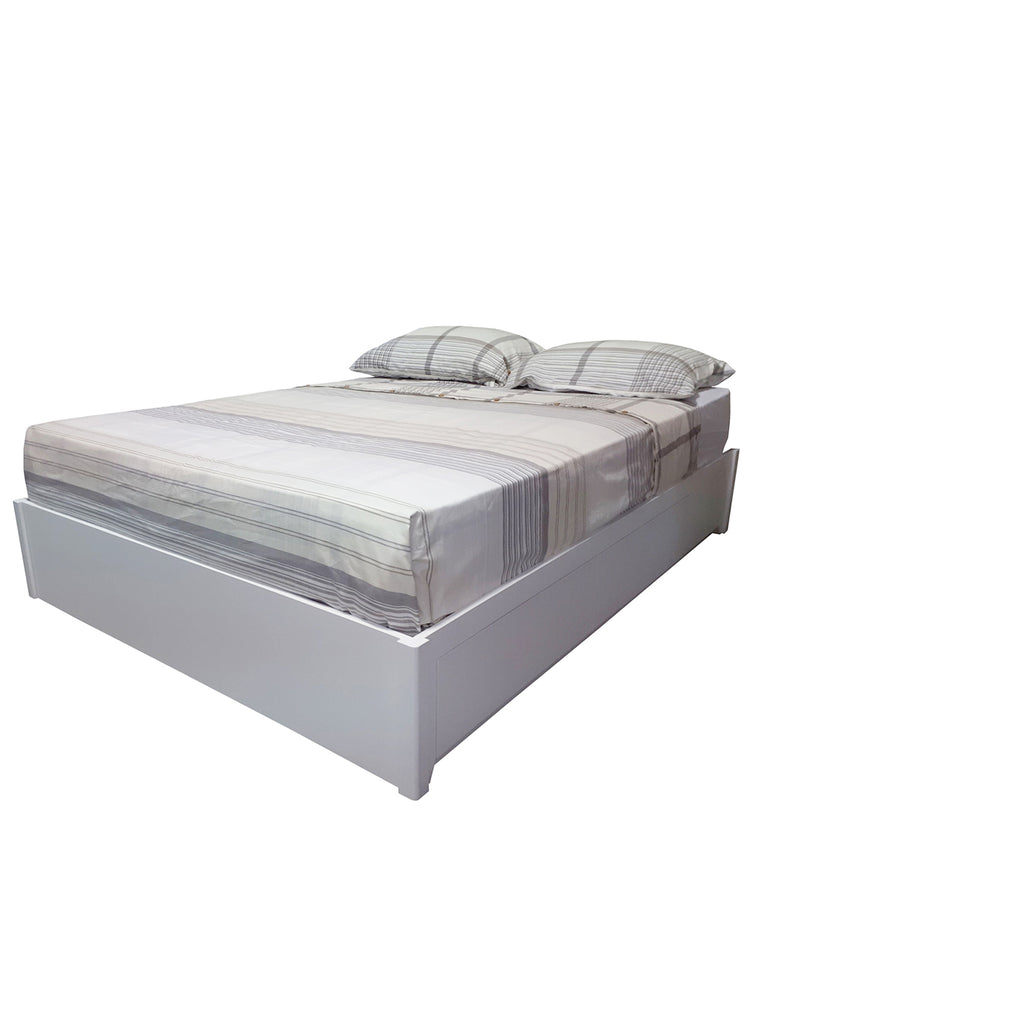 Dunbar queen size storage bed shown in Dove White
