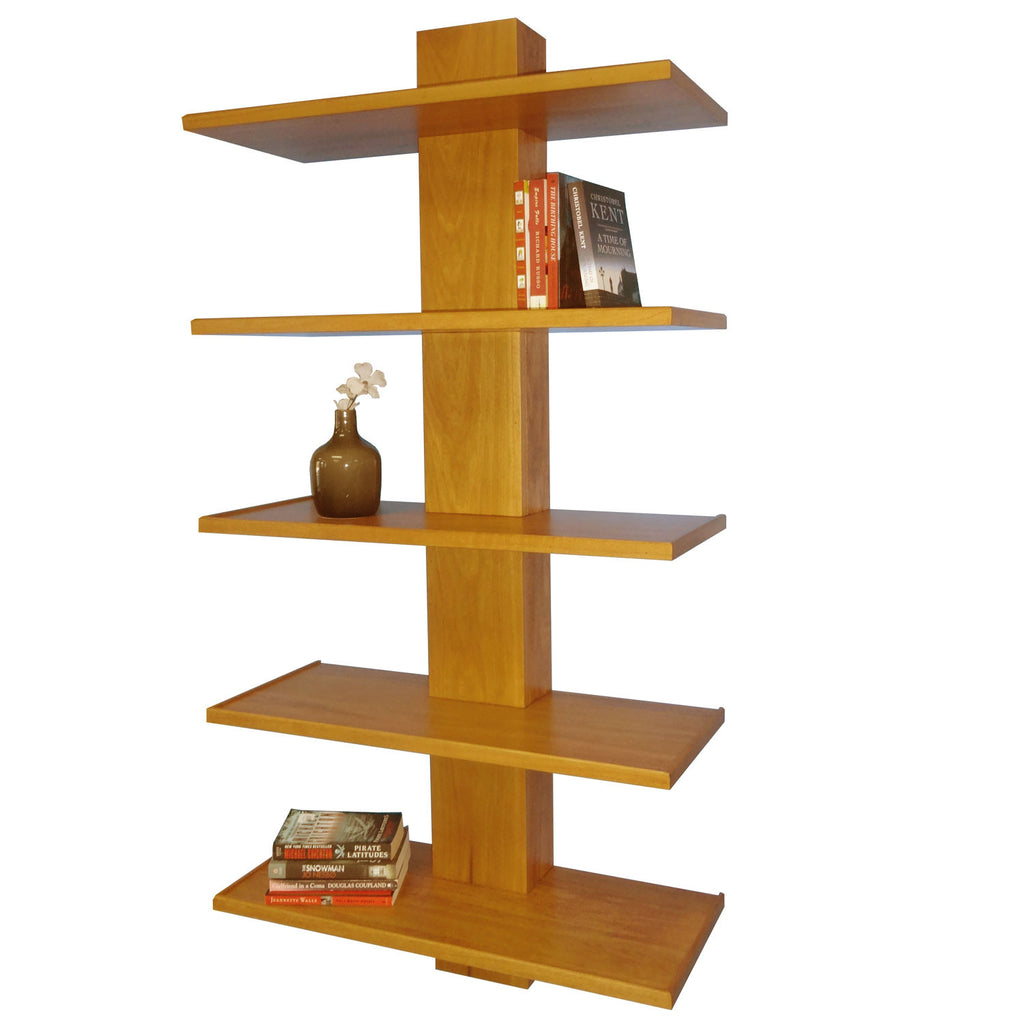 Long Blackcomb Bookshelf - shown in Poplar with Salem stain