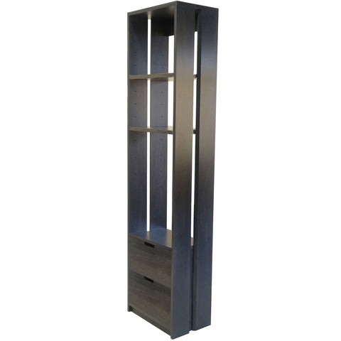 Double Double bookcase shown in Slate on Poplar wood