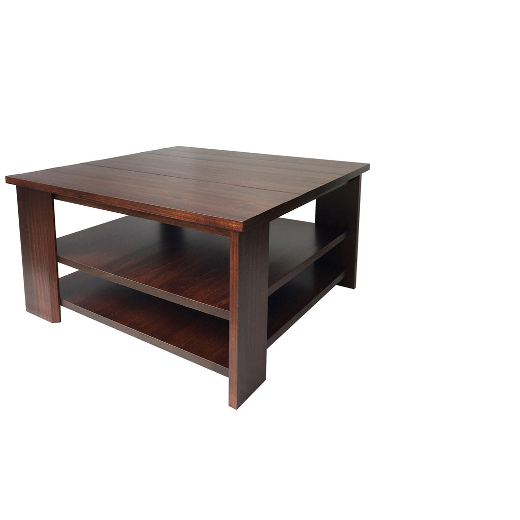 Vancouver Square Offset Coffe Table - Shown in Poplar with Coco Cherry Stain
