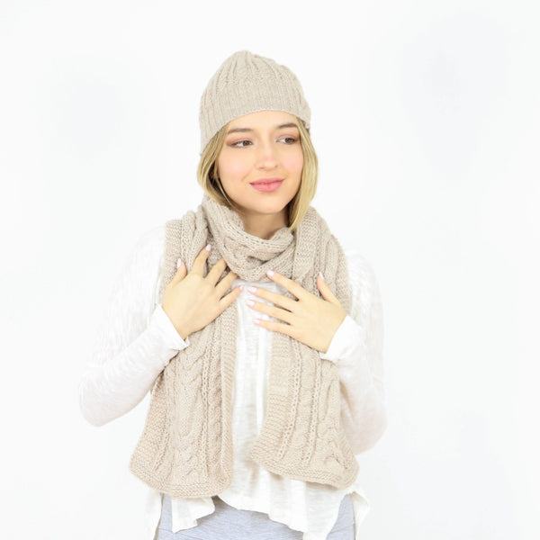 Alpaca Handknitted Cables Beanie and Scarf Set