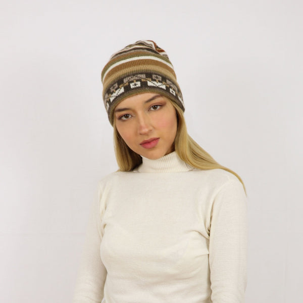 Stripe alpaca hat