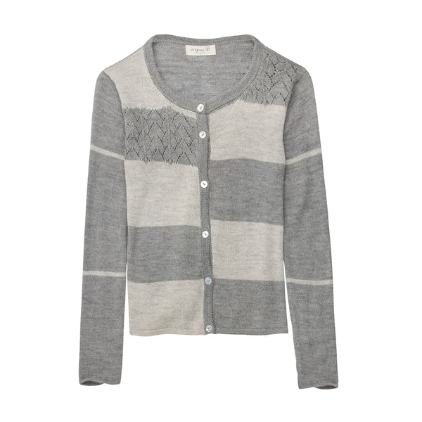 Alpaca Wool | Grey Cardigan | Cardigans for Women | Alpaca Color Block Cardigan