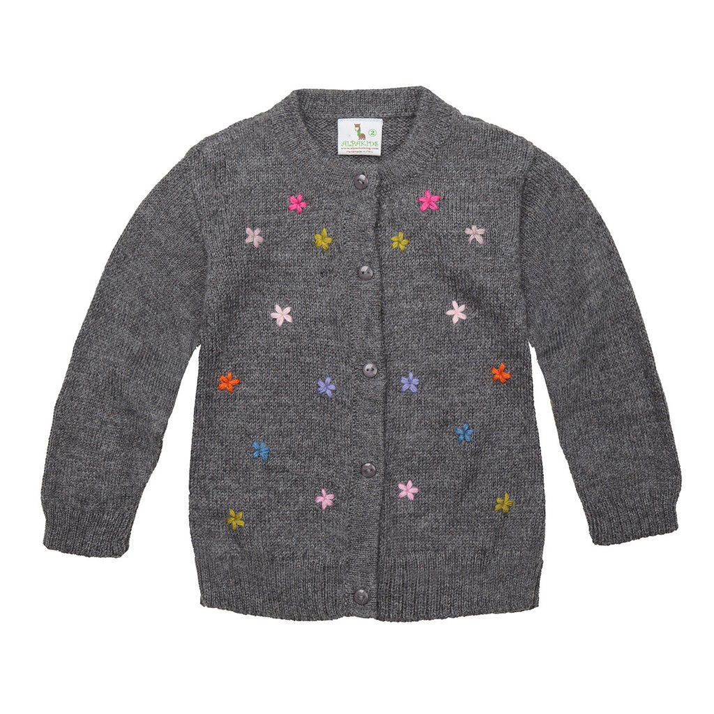 Alpaca Wool | Girl Cardigan | Hand Embroidered Organic Clothing