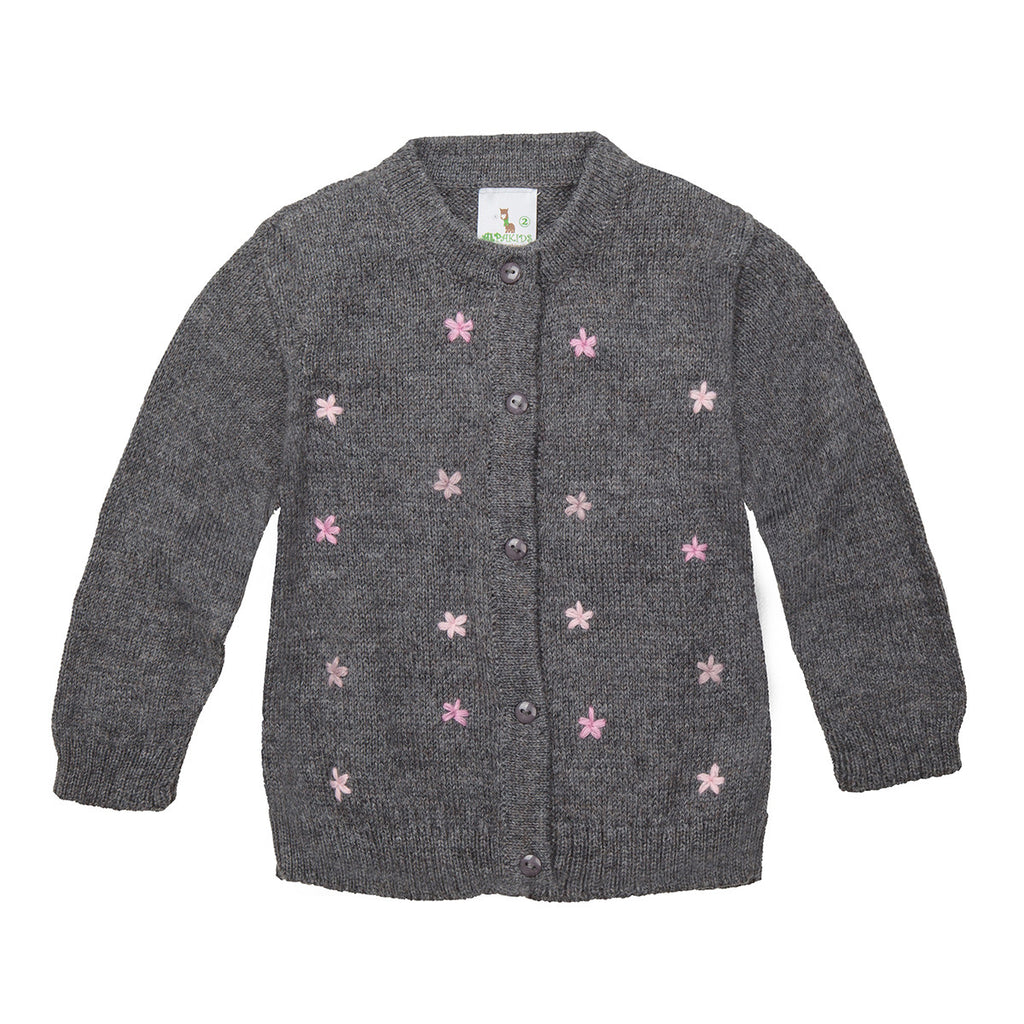 Handmade Artisan Alpaca Wool | Organic Cotton | Girls Cardigan in Grey