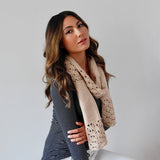 Alpaca Scarf | Alpaca Wool | Ladies Scarves | Organic Cotton - Model Wearing Scarf