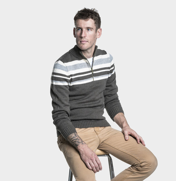 Mens Alpaca Wool Jumper Half Zip | Organic Cotton Clothing