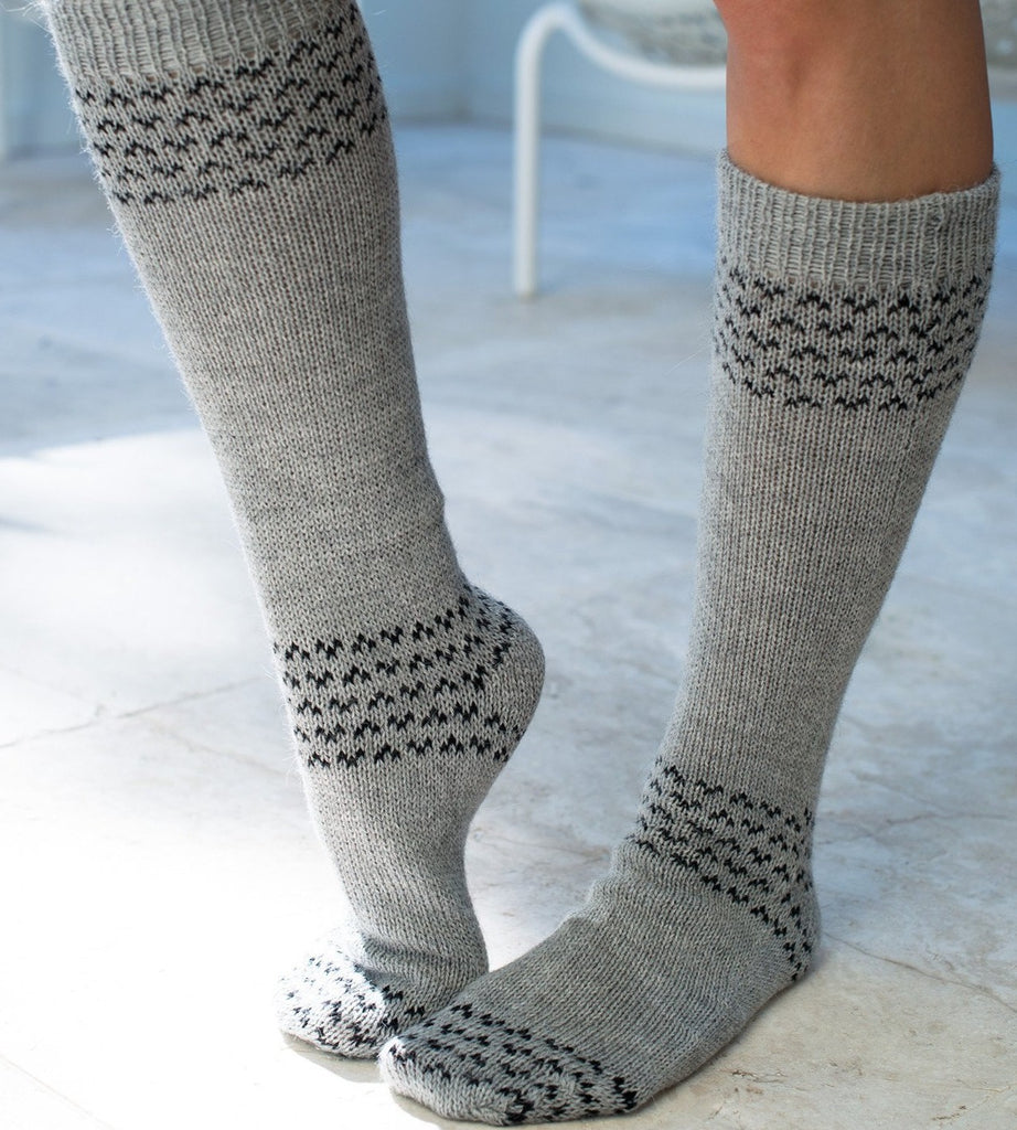 Alpaca Socks | Alpaca Blend Socks | Wool Socks silvergrey-black