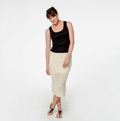 Organic Cotton Marbella Lace Skirt