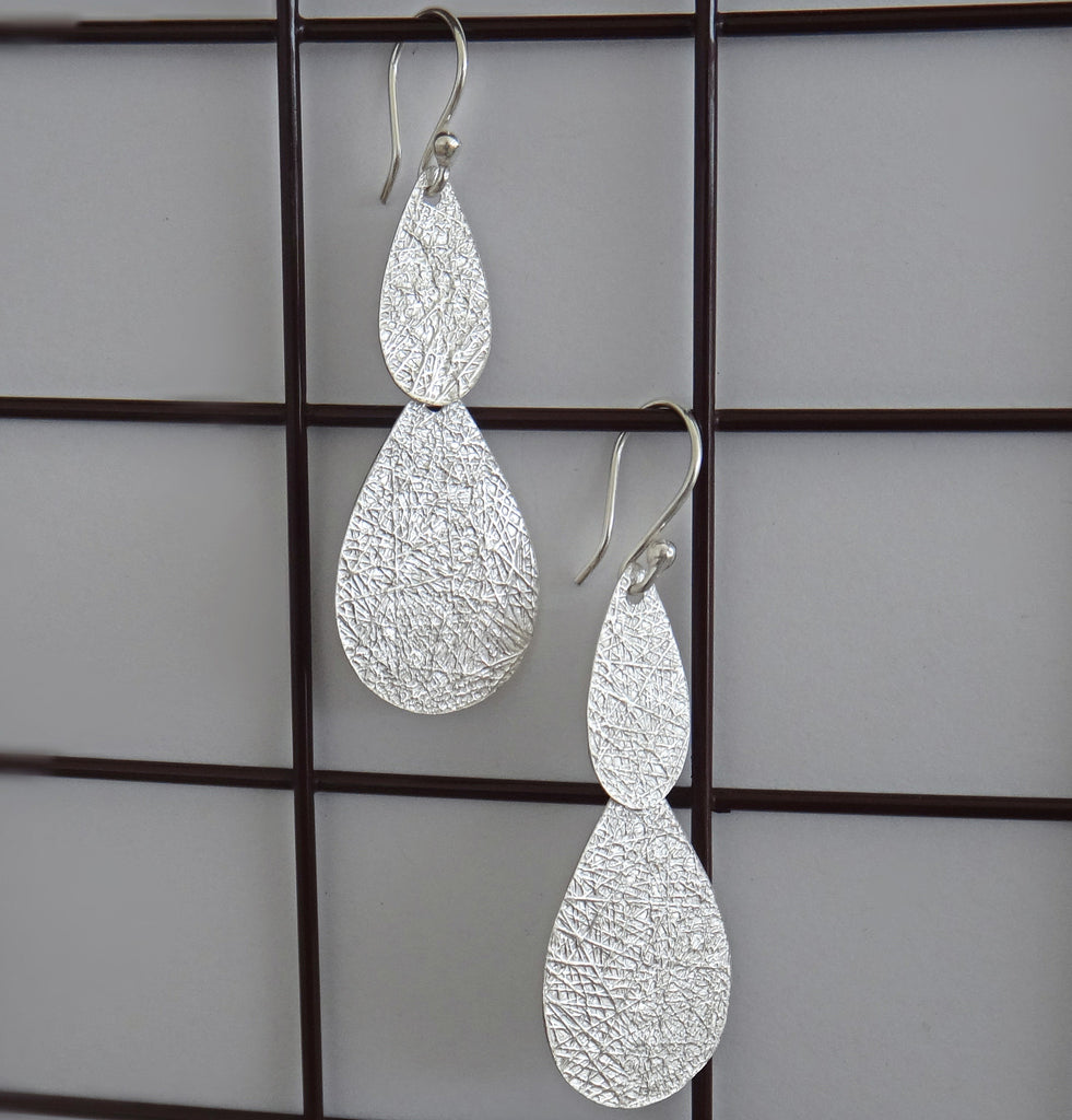Silver Textured Drop Earrings- SOLD OUT