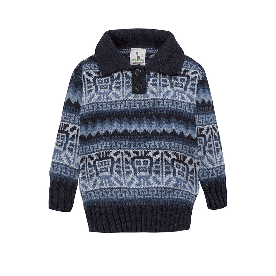 Alpaca Wool | Boy Jumper with Ethnic Sol Pattern | Kids Clothing - front