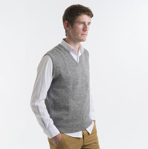 Alpaca Wool Vest in Silver Grey