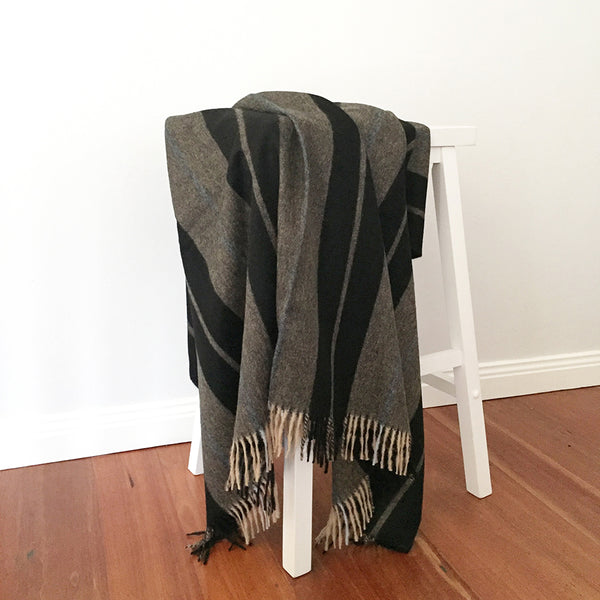 Alpaca Wool | Throw Blanket in Black Stripes | Organic Cotton
