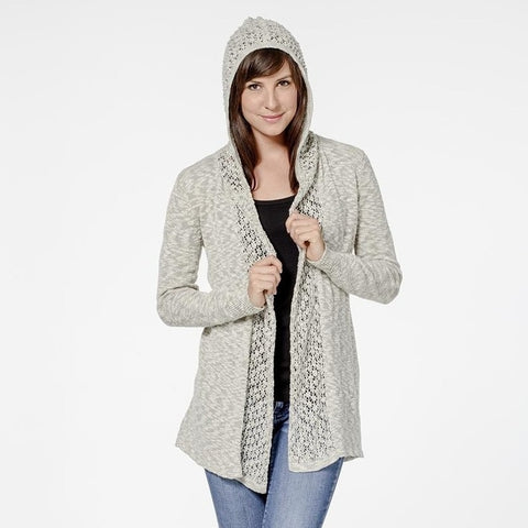 Organic Cotton Blend Lace Hooded Cardigan