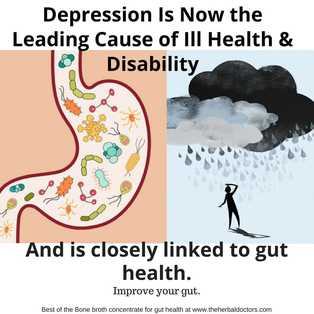 Depression Is Now the Leading Cause of Ill Health & Disability.  Closely Linked With Gut Health