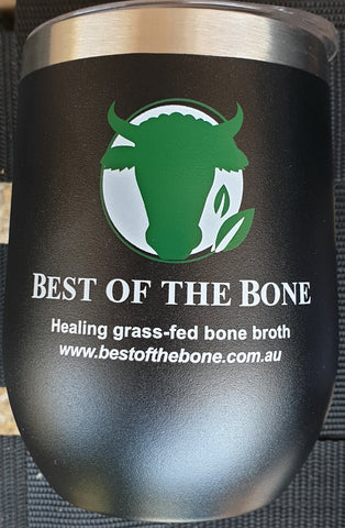 Insulated Best of the Bone stainless steel broth mug - black