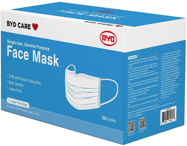 BYD Care Face Mask, Single use, 50 pack