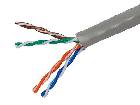 Cat5e Ethernet Bulk Cable - Solid, 350MHz, UTP, CMR, Riser Rated, Pure Bare Copper, 24AWG, 1000ft, Gray, ReelexII (UL)(TAA)