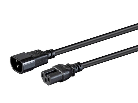 Heavy Duty Power Cable - IEC 60320 C14 to IEC 60320 C15, 14AWG, 15A/1875W, SJT, 100-250V