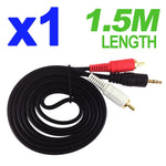 3.5mm Male Plug to 2RCA Stereo Audio Cable AUX Adapter for Apple iPhone iPod MP3