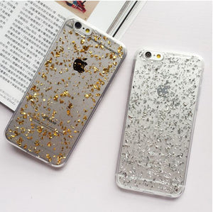 GOLD Glitter Bling Gel TPU Silicone Case Cover for Apple iPhone 5 SE 6 6S 7 8 X