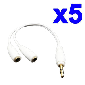 Headphone Splitter AUX Cable Earphone 2 Male Adapter 3.5mm Stereo Y Female Jack