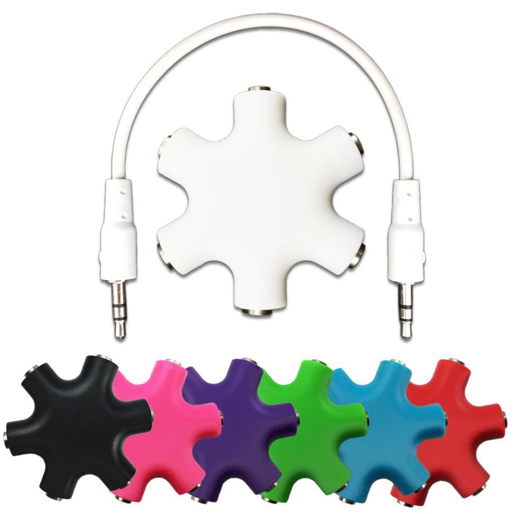 6-Way 3.5mm Headphone Splitter Headset HUB & Audio Cable For iPhone iPod MP3