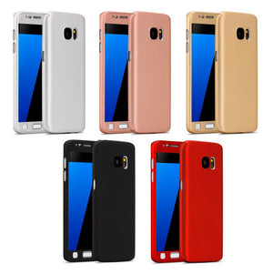 Hybrid Tough 360 Case Cover Tempered Glass for Samsung Galaxy S5 S6 S7 S8 & Plus