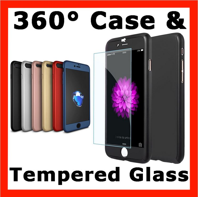 360° Full Body Hybrid Hard Case Cover Tempered Glass For iPhone 6 6s 7 Plus 8 X
