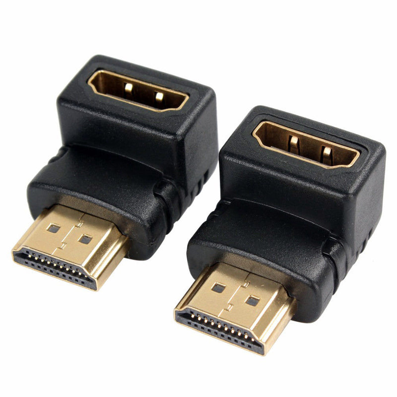 2 x Right Angle HDMI A Male to HDMI Female 90 Degree Adapter Connector Converter