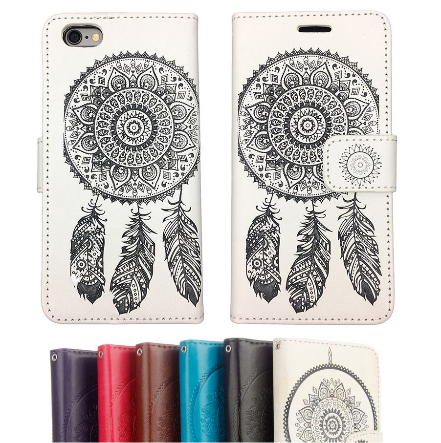 Dreamcatcher Leather Flip Case Magnetic Wallet Gel Cover For Apple iPhone 7 6S 6 Plus 5 8 X