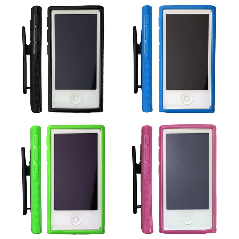 2x Belt Clip Soft Gel TPU Case Gym Running Cover for Apple iPod Nano 7 7th Gen