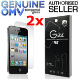 2 x GENUINE Tempered Glass Screen Protector Tough Film for Apple iPhone 4S 4