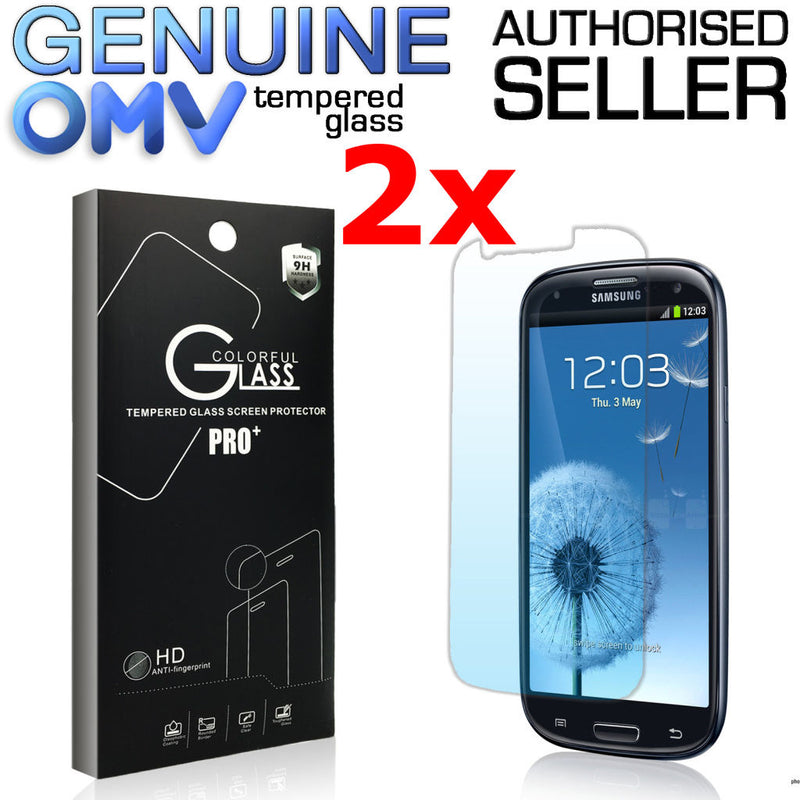 2 x GENUINE Tempered Glass Screen Protector Film for Samsung Galaxy S3 i9300