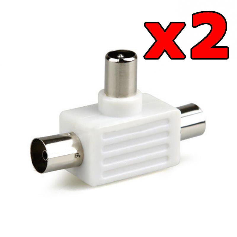 2 x TV Antenna Splitter Double Adapter 1 Male to 2 Females PAL Plug Connector
