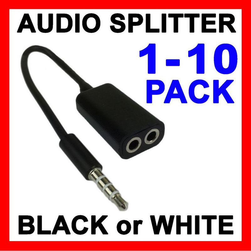 Headphone Splitter 3.5mm Jack Plug Audio AUX Cable Auxiliary Y Stereo Adapter