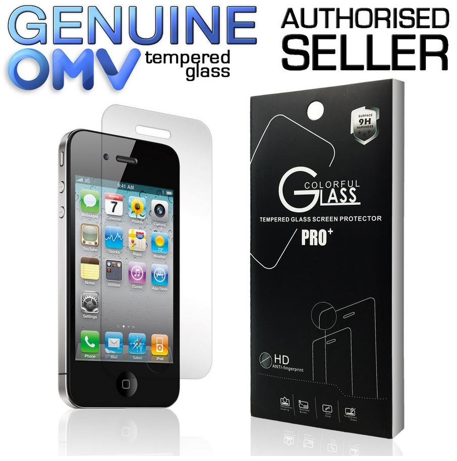 GENUINE Tempered Glass Screen Protector Film Guard for Apple iPhone 4S 4