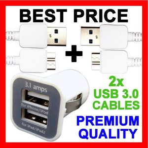 Dual USB Car Charger + USB 3.0 Adapter Cables for Samsung Galaxy S5 Note 3 Edge
