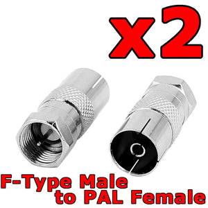 2 x F Type Male to PAL Female Socket TV Antenna Cable Connector Adaptor Adapter