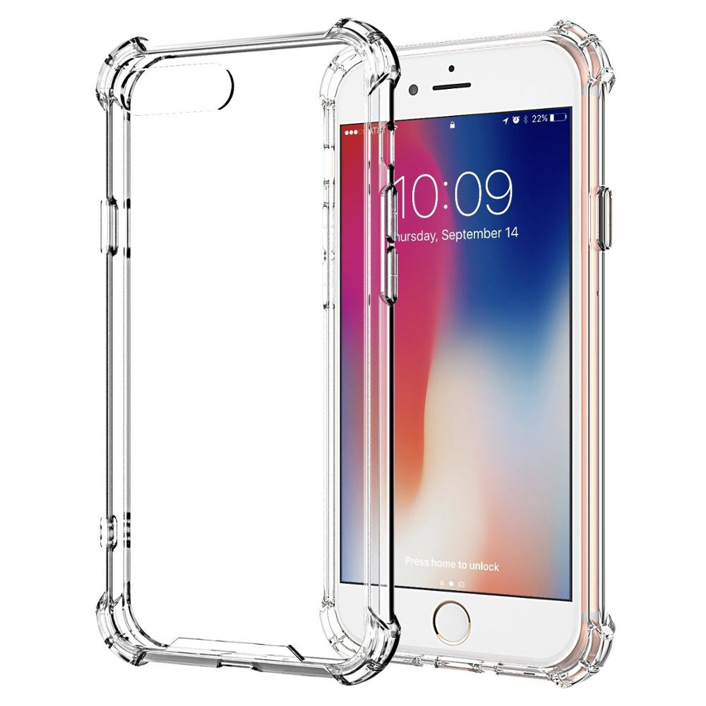 Shockproof Tough Gel Clear Case Cover for Apple iPhone 8 Plus