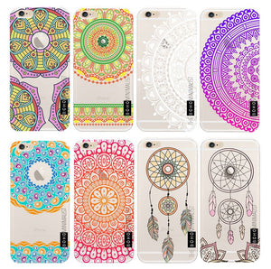 Marble Mandala Pattern TPU Gel Case Cover for Apple iPhone 5 5S SE 6 6S Plus 7