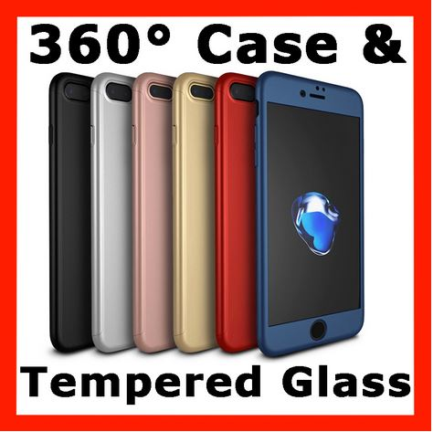 360° Hybrid Hard Thin Case Tempered Glass Cover for Apple iPhone 6 6s 7 Plus 8 X