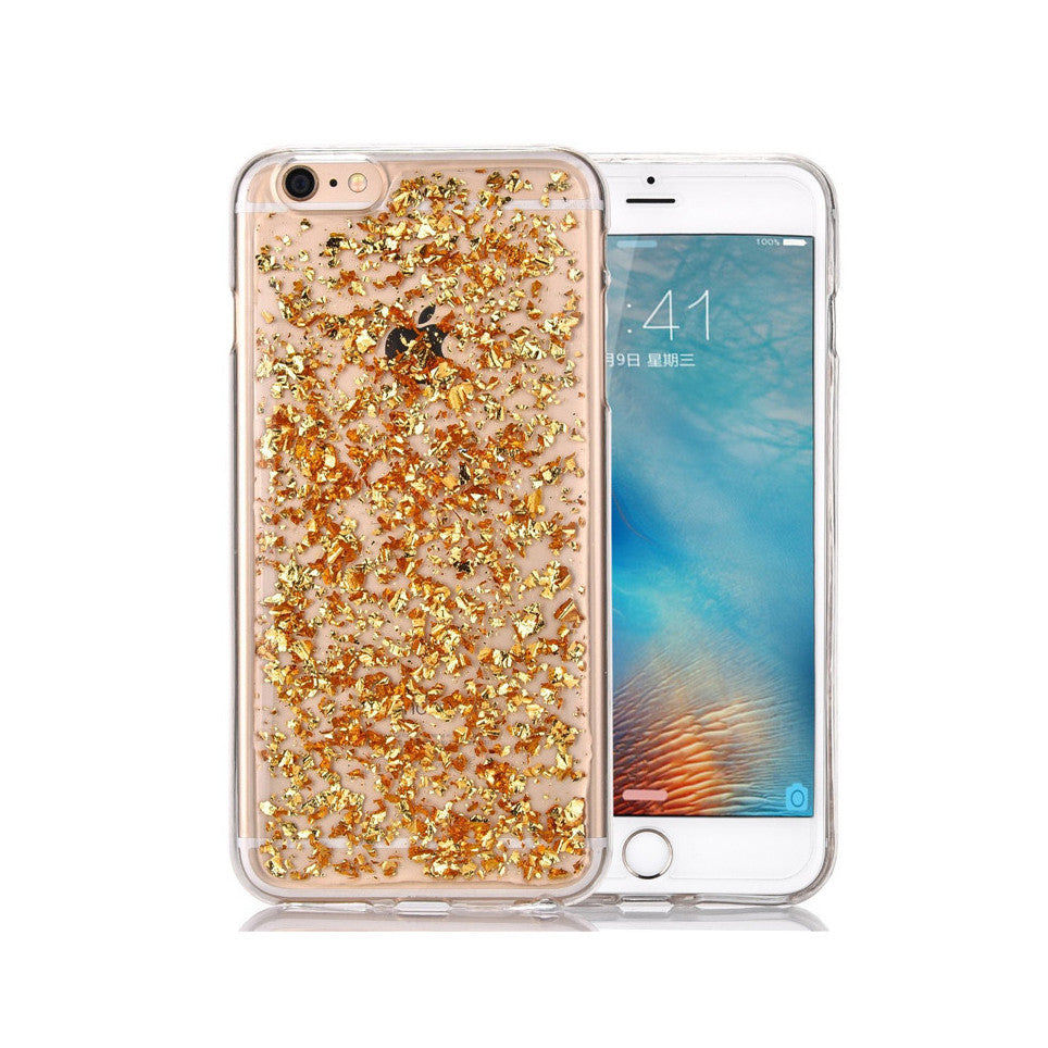 Rose Gold Silver Glitter Bling Gel TPU Case Tough Cover for Apple iPhone 5, 5s, 5c, SE, 6, 6s, 7, Plus