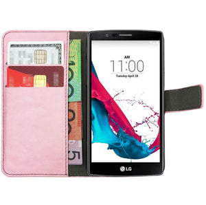 Premium Leather Flip Case Magnetic Card Wallet PU Stand Cover For LG G4 & G3