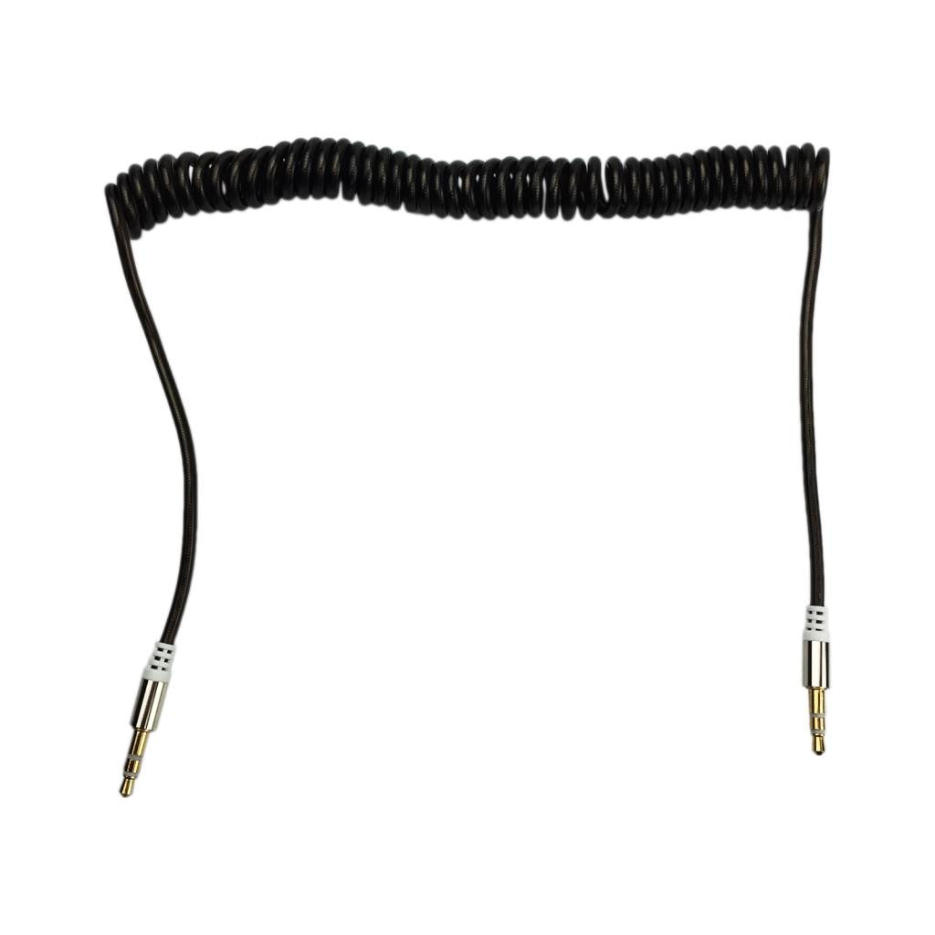 Coiled Spring Auxiliary Stereo Audio Cable 3.5mm to 3.5mm