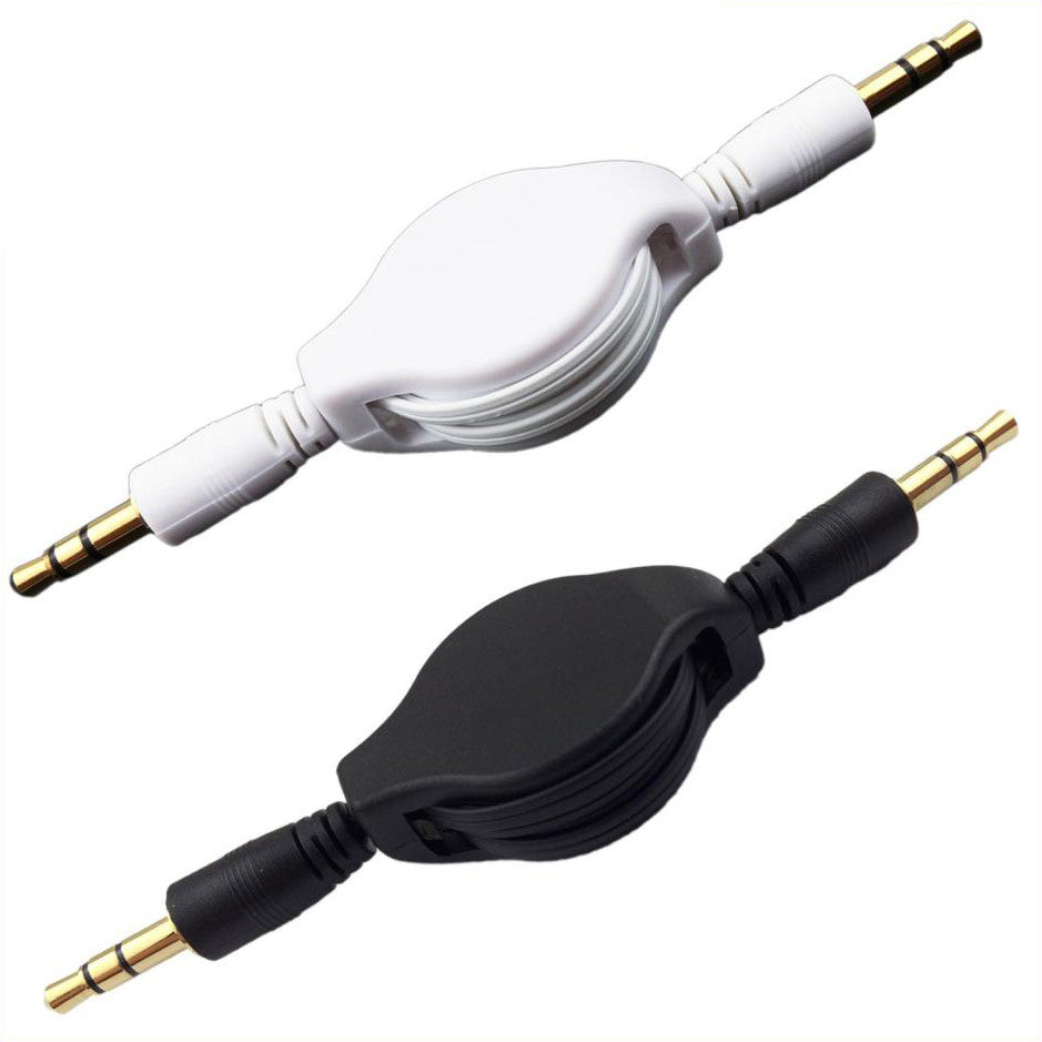 Retractable Auxiliary Stereo Audio Cable 3.5mm to 3.5mm