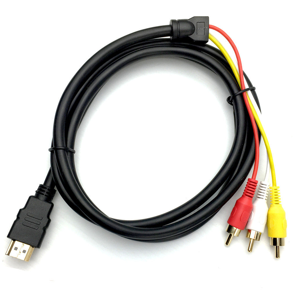 2 x HDMI Male to 3 RCA RGB Male AV Video Audio Adapter Cable For HDTV DVD Player