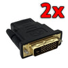 2 x DVI D Male Dual Link Plug to HDMI Female Converter Socket Adapter For HDTV
