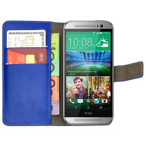 Leather Flip Wallet and Stand Case for HTC ONE M8