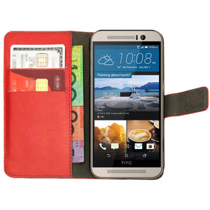 Leather Flip Wallet and Stand Case for HTC ONE M9